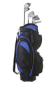 Blue Golf Bag and Clubs Isolated on White Background