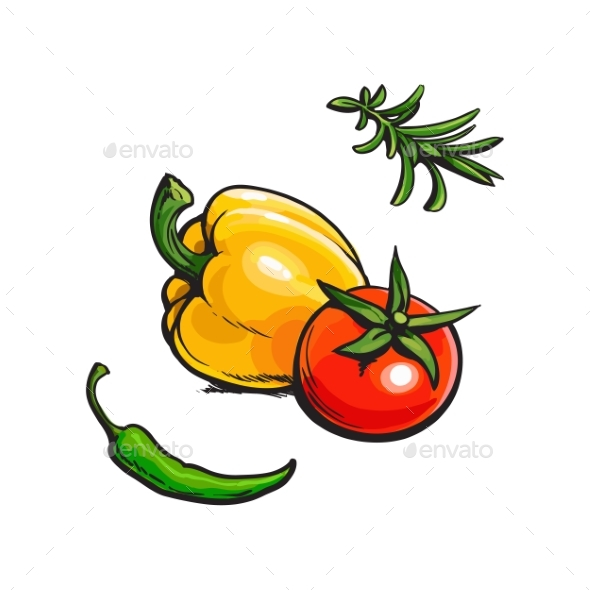 GraphicRiver Tomato Bell Chili Pepper and Rosemary BBQ Spices 20499964