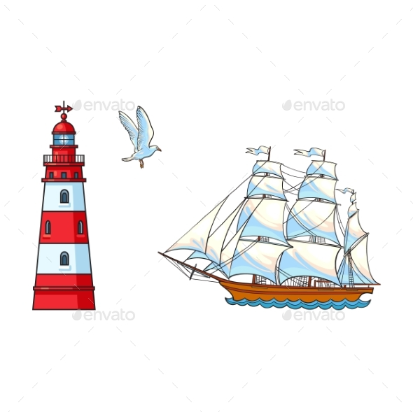 GraphicRiver Sailing Ship Lighthouse and Seagull Set 20500015