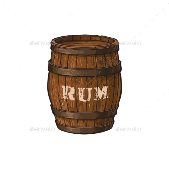 GraphicRiver Vector Wooden Rum Barrel Isolated Illustration 20500023