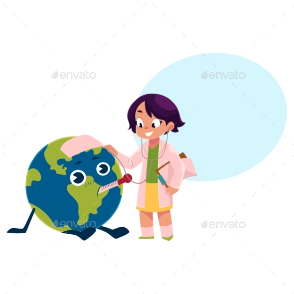 Girl Playing Doctor with Globe or Planet Earth - People Characters