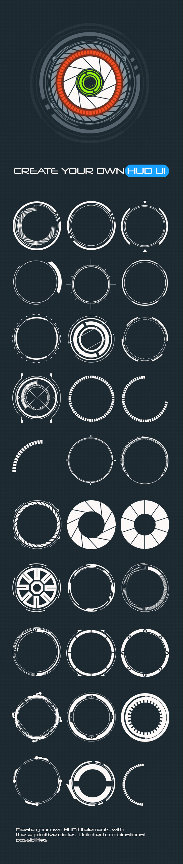 GraphicRiver 30 Primitive HUD Circles Custom Shapes 20500145