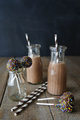 Chocolate milk with cake pops and straws - PhotoDune Item for Sale