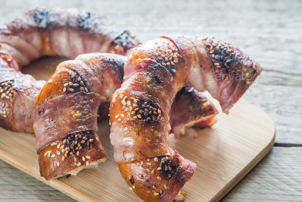 Bagels wrapped in bacon