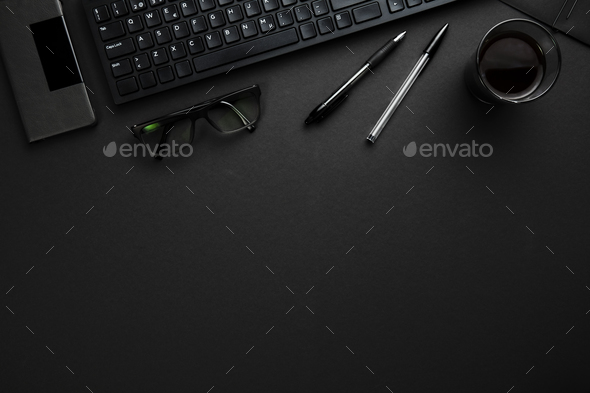 Computer Keyboard With Pens, Eyeglasses And Smartphone On Gray D - Stock Photo - Images