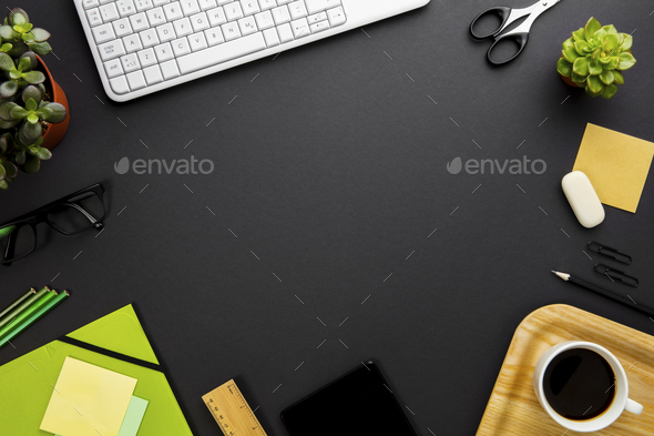Office Supplies And Keyboard Arranged On Gray Desk - Stock Photo - Images
