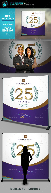Regal Gold Lavender plus Teal 8x8 Event Backdrop Template - Signage Print Templates