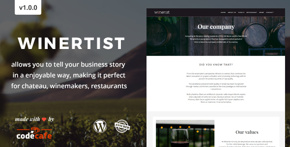 Winerist - A Stunning Winery WordPress Theme