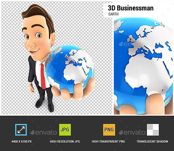 3D Businessman Holds Blue Earth - Characters 3D Renders