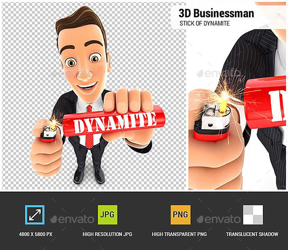 3D Businessman Lighting a Stick of Dynamite - Characters 3D Renders