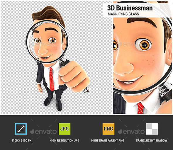 3D Businessman Looking into a Magnifying Glass - Characters 3D Renders