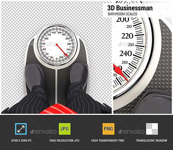 3D Businessman on Bathroom Scales - Characters 3D Renders