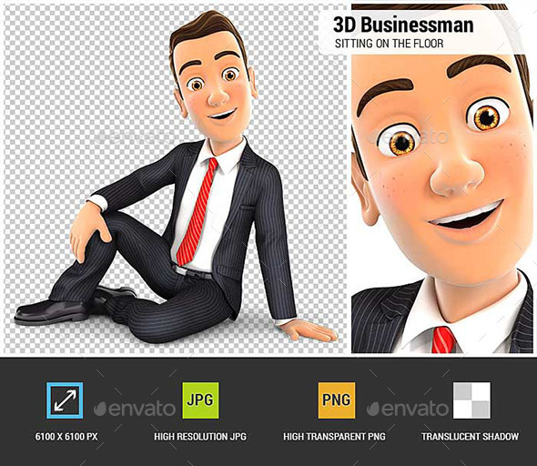 GraphicRiver 3D Businessman Sitting on the Floor 20500649