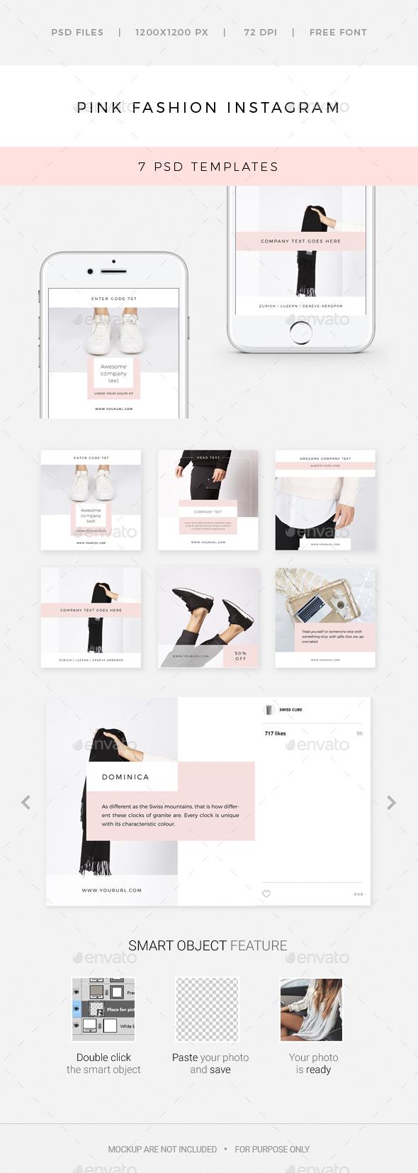 Pink Fashion Instagram - 7 Deisgns - Social Media Web Elements