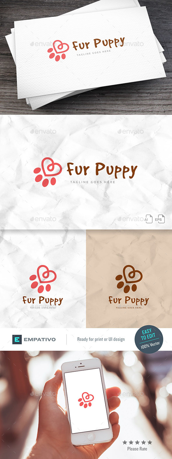 Fur Puppy Logo Template - Animals Logo Templates