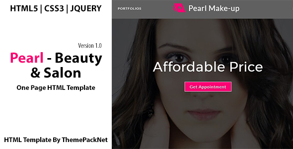Pearl - Beauty  Salon One Page HTML Template - Business Corporate
