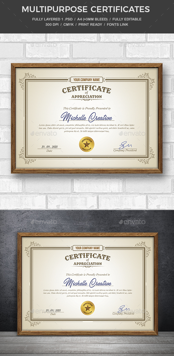 GraphicRiver Multipurpose Certificate 20501672