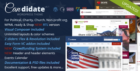 Candidate - Political/Nonprofit/Church WordPress Theme - Political Nonprofit