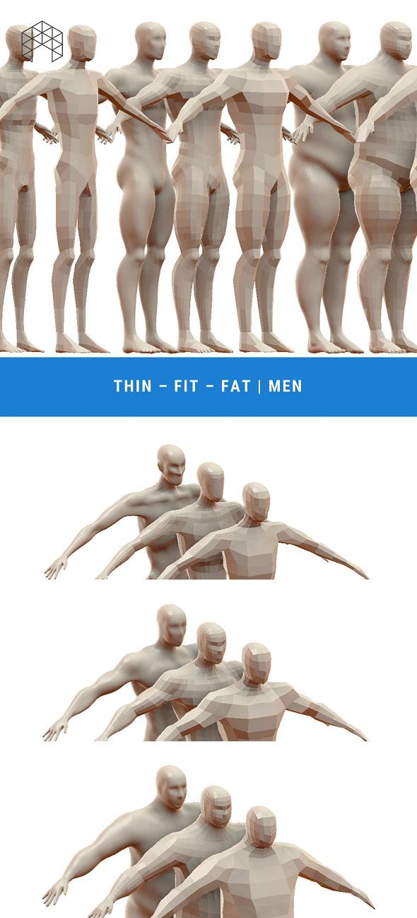 3DOcean Men Base Mesh Pack 9 Files 20501846