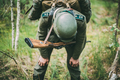 Tired Re-enactor Dressed As German Wehrmacht Infantry Soldier In - PhotoDune Item for Sale