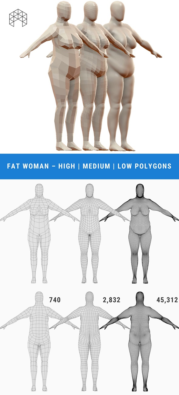 Fat Woman Base Mesh - 3 Files - 3DOcean Item for Sale