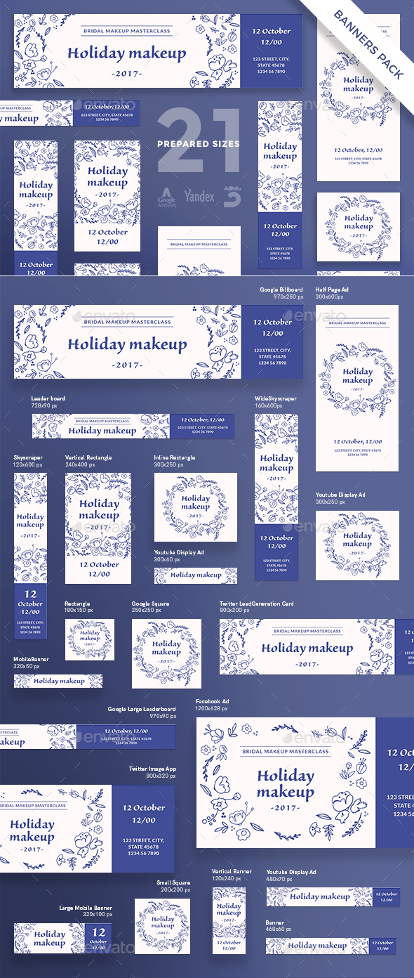 Holiday Makeup Banner Pack - Banners & Ads Web Elements