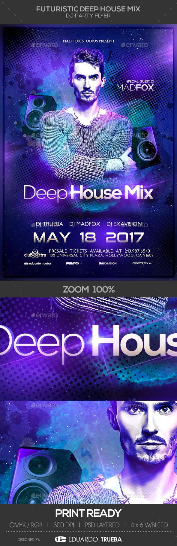 Futuristic  Electro EDM Deep House Mix Dj Party Flyer - Clubs & Parties Events