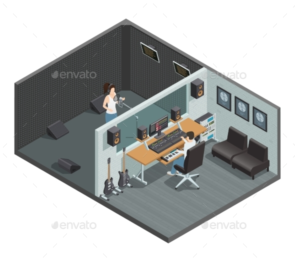 GraphicRiver Vocal Recording Isometric Composition 20502320