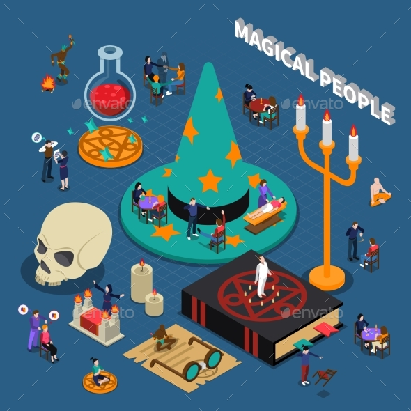 Magical People Isometric Design - People Characters