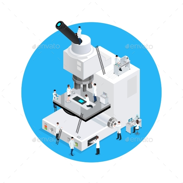 Microscope Scientists Round Concept - Technology Conceptual