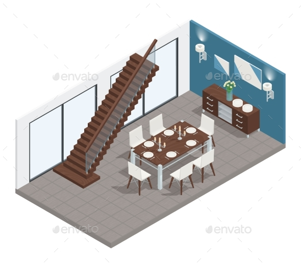 Dining Room Isometric Concept - Buildings Objects