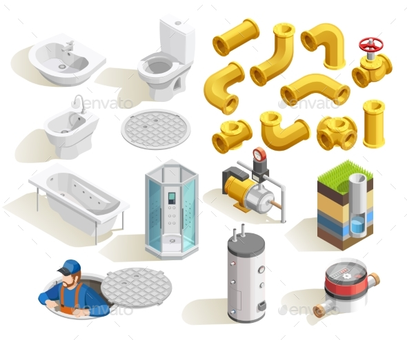 GraphicRiver Plumber Isometric Icons Set 20502331