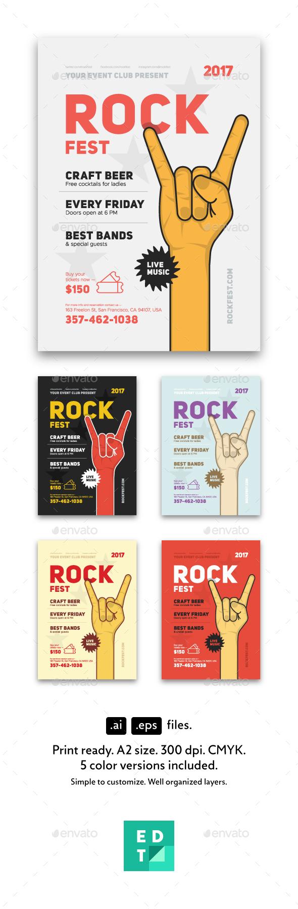 GraphicRiver Rock Festival Poster Template 20502332