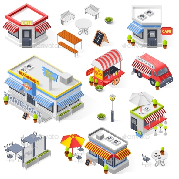 Set Of Street Restaurant And Cafe Isometric Icons - Buildings Objects
