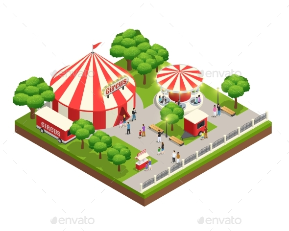 GraphicRiver Circus Tent In Park Isometric Composition 20502343