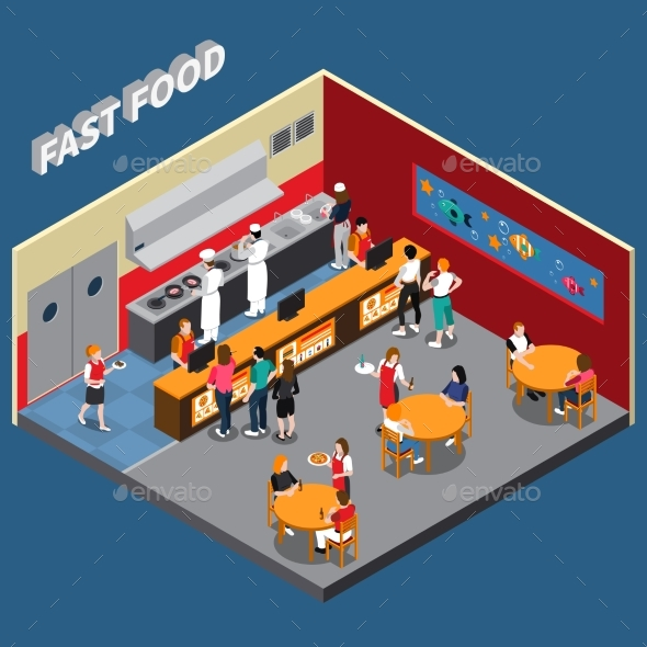 Fast Food Restaurant Isometric Illustration - Business Conceptual