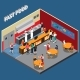 Fast Food Restaurant Isometric Illustration