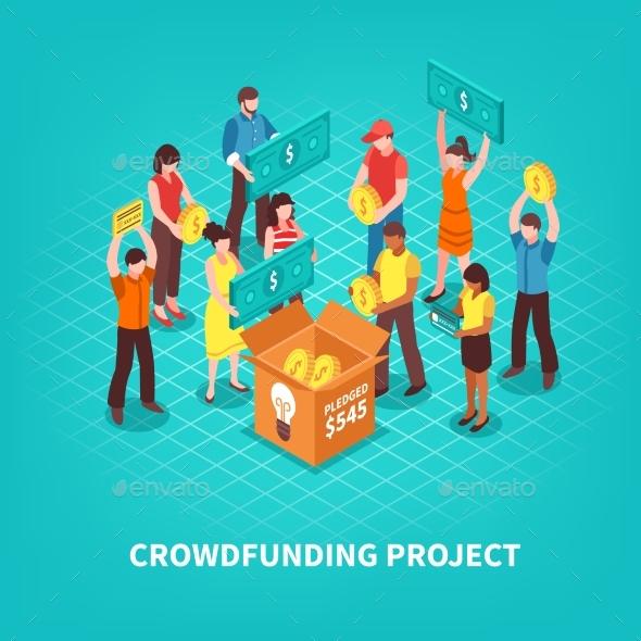 Isometric Crowdfunding Illustration - Business Conceptual