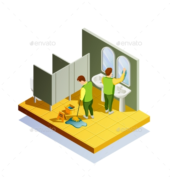 Closet Cleaning Isometric Composition - Technology Conceptual
