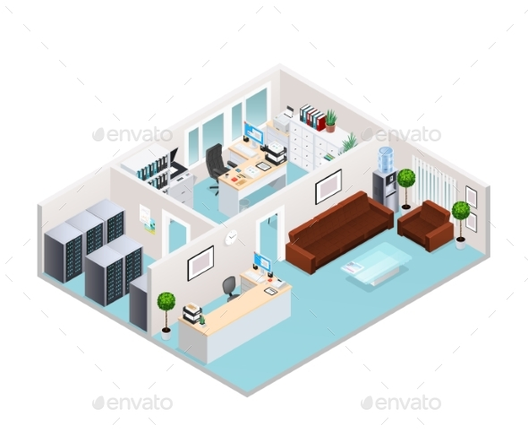 Office Interior Isometric Design - Buildings Objects