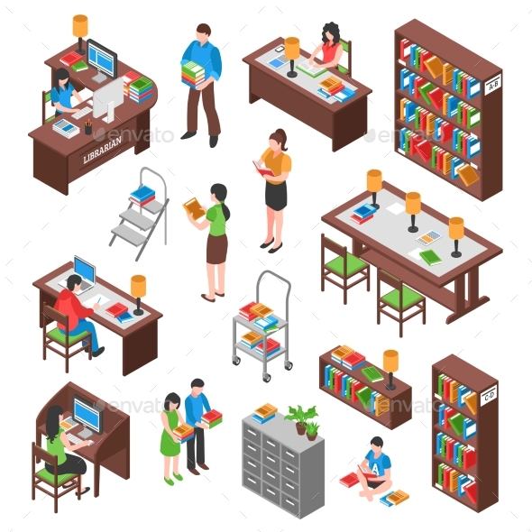 Library Isometric Set - Business Conceptual