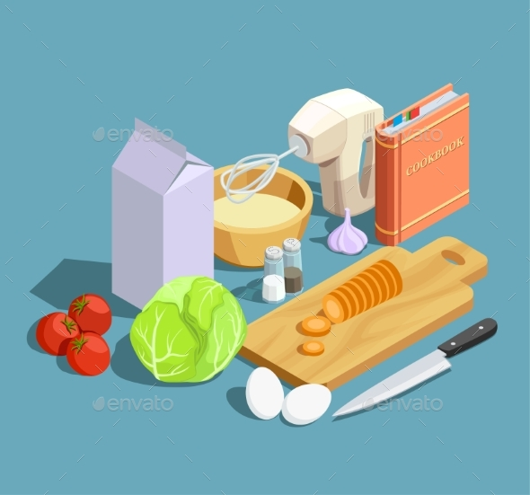 Cooking Isometric Elements Set - Food Objects