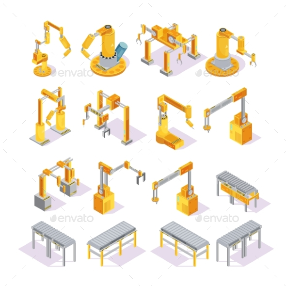 Conveyor Machines Isometric Set - Business Conceptual