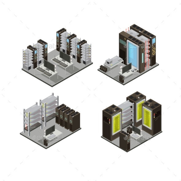 Data Center Isometric Compositions - Business Conceptual