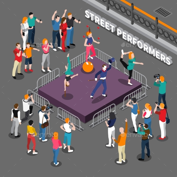 Street Performers Isometric Composition - People Characters