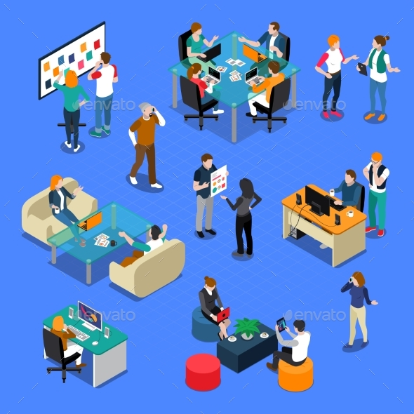 People Coworking Isometric Set - Business Conceptual