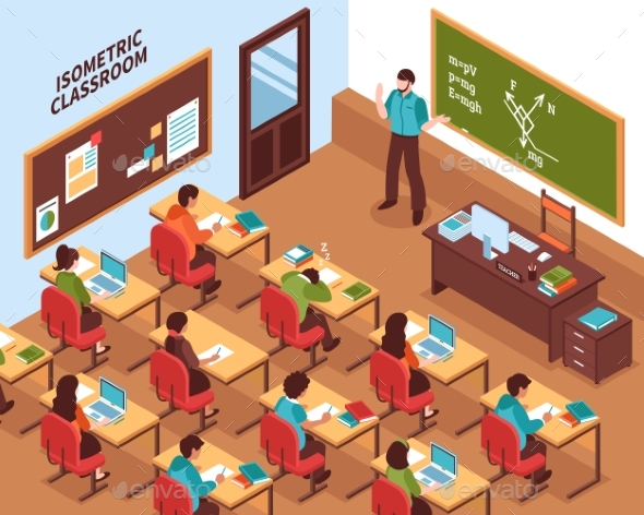 School Classroom Lesson Isometric Poster - Miscellaneous Vectors