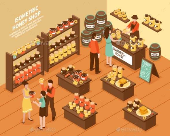 Honey Farm Shop Isometric Poster - Animals Characters
