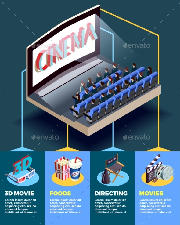 GraphicRiver Cinema Auditorium Isometric Infographics 20502406