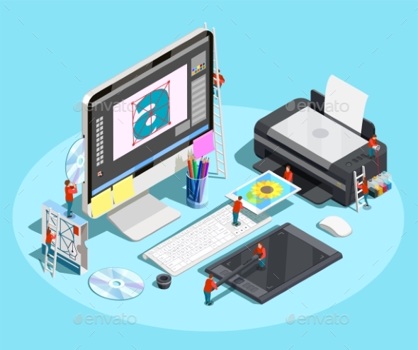 Graphic Designer Workspace Concept - Computers Technology
